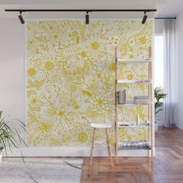 Yellow Floral Doodles Wall Mural