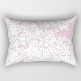 Amsterdam White on Pink Street Map Rectangular Pillow