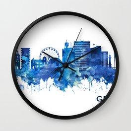 Geneva Switzerland Skyline Blue Wall Clock