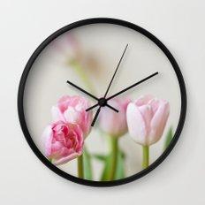 Soft tulips Wall Clock