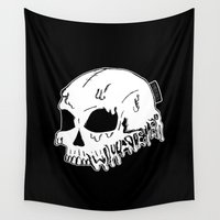 sarcasm Wall Tapestries featuring Dripping With Sarcasm - White bye zombieCraig by zombieCraig