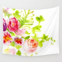 card Wall Tapestries featuring Floral Card by Svitlana M