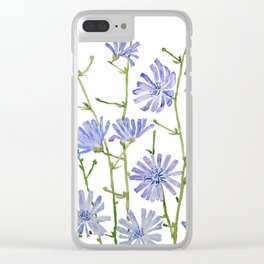 blue chicory watercolor Clear iPhone Case