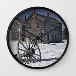 Wagon wheel in winter at the mining ghost town at Fayette Wall Clock