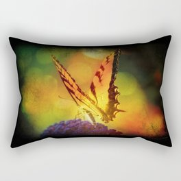 Rainbow Bokeh Butterfly Rectangular Pillow