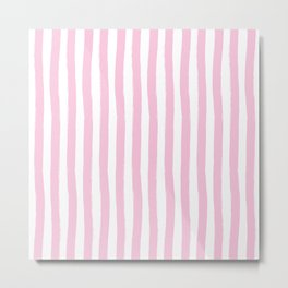 Pink and White Palm Beach Preppy Cabana Stripes Metal Print