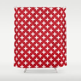 Criss Cross | Plus Sign | Red and White Shower Curtain