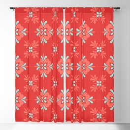 Red Background with Coral and Aqua Flower Pattern Blackout Curtain