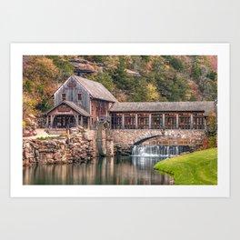 Dogwood Canyon Mill and Waterfall - Missouri Ozark Mountains Art Print