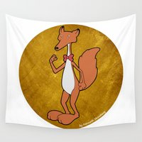 gentleman Wall Tapestries featuring Gentleman Fox by Kenneth Shinabery
