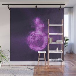 Planet Earth Symbol. Earth sign. Abstract night sky background. Wall Mural