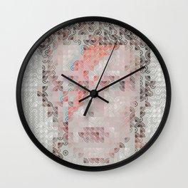 Hedgehog geometric pattern portrait of Bowie 02 Wall Clock