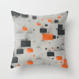 Pattern with black, white and orange blocks Throw Pillow