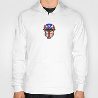 puerto rico Hoodies featuring Baby Owl with Glasses and Puerto Rican Flag by Jeff Bartels