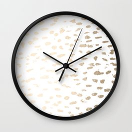 Gold Modern Polka Dots on White Wall Clock