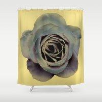 noir Shower Curtains featuring rose noir by EnglishRose23