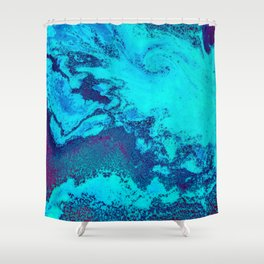 Electric Blue and Magenta Swirl (Color) Shower Curtain