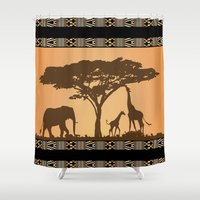african Shower Curtains featuring African Silhouette by Robin Curtiss