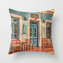 Pastel Cafe Peloponnese Greece Throw Pillow