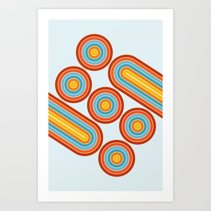 Retro Motion 2 – Orange / Yellow / Blue Abstract Stripe Pattern Art Print