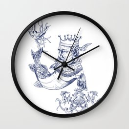 Sea Posse IV - King, Navy Print Wall Clock