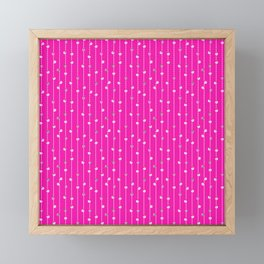 Christmas Baubles on Festive Tinsel Streamers Neon Pink Framed Mini Art Print