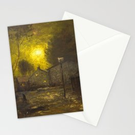 By the Light of a Yellow Moon, Cityscape by George Inness Stationery Cards