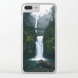Fog at Multnomah Falls, Oregon Clear iPhone Case