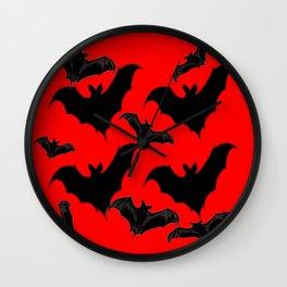 HALLOWEEN BATS ON BLOOD RED DESIGN Wall Clock