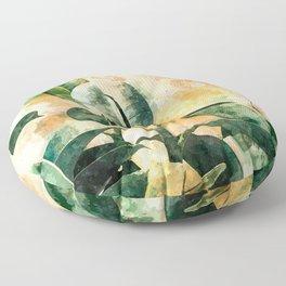 Green Watercolor Rubber Plant Floor Pillow