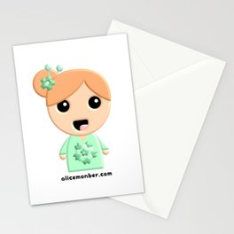 Juliette Kokeshi Red Head Doll Stationery Cards