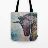 unicorn Tote Bags featuring Dark Unicorn by Michael Creese