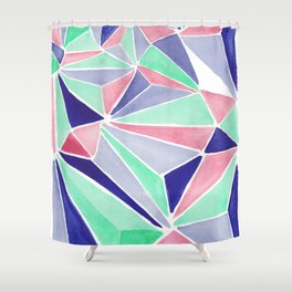 Watercolor colorful mint triangles. Watercolor geometry 3D effect. Shower Curtain