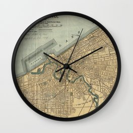 Vintage Map of Cleveland OH (1894) Wall Clock