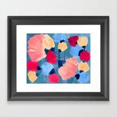 Peach flowers on teal Framed Art Print