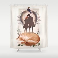 mulder Shower Curtains featuring Fable of Mulder and Scully by tumblebuggie
