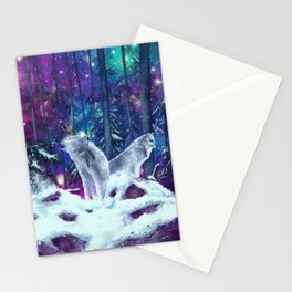 white wolf in the forest Stationery Cards
