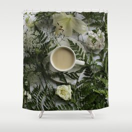 Flowers and Coffee Shower Curtain