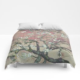 Almond Blossom - Vincent Van Gogh (pink pastel and cream) Comforters