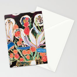 Lions and Tigers Dark Floral Still Life Painting Stationery Cards