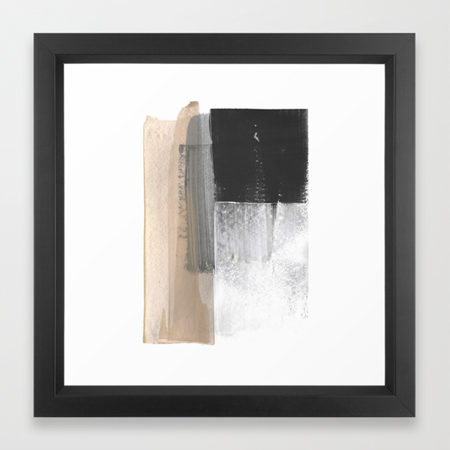 Beige And Grey Colorblock Textured Abstract Painting Framed Art