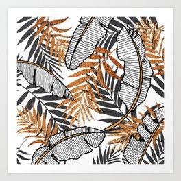 Tropical metallic leaves Art Print
