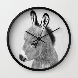 Donkey - Black & White Wall Clock