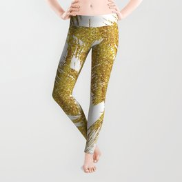 Elegant faux gold glitter brushstrokes pattern Leggings