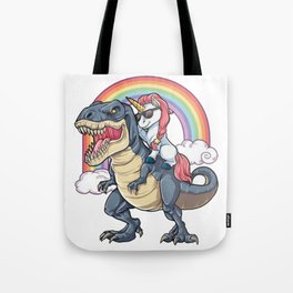 Unicorn Riding Dinosaur T Shirt T-Rex Funny Unicorns Party Rainbow Squad Gifts for Kids Boys Girls Tote Bag