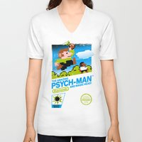 psych V-neck T-shirts featuring The Amazing Psych-Man and Magic Head! by girardin27