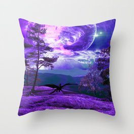 Lonely Dragon Throw Pillow