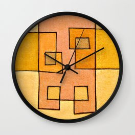 Protoglifo 04 'yellow hugging pink' Wall Clock