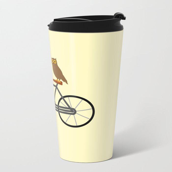 Owl Riding Bike Metal Travel Mug