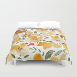 Yellow and Orange Floral Duvet Cover